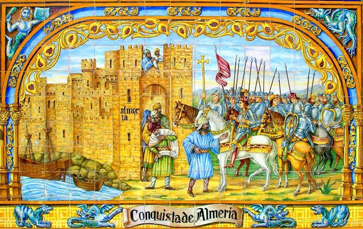 Mosaico de toma de Almería en Plaza de España de Sevilla, inspirado en relieve en coro de la sillería de la Catedral de Toledo