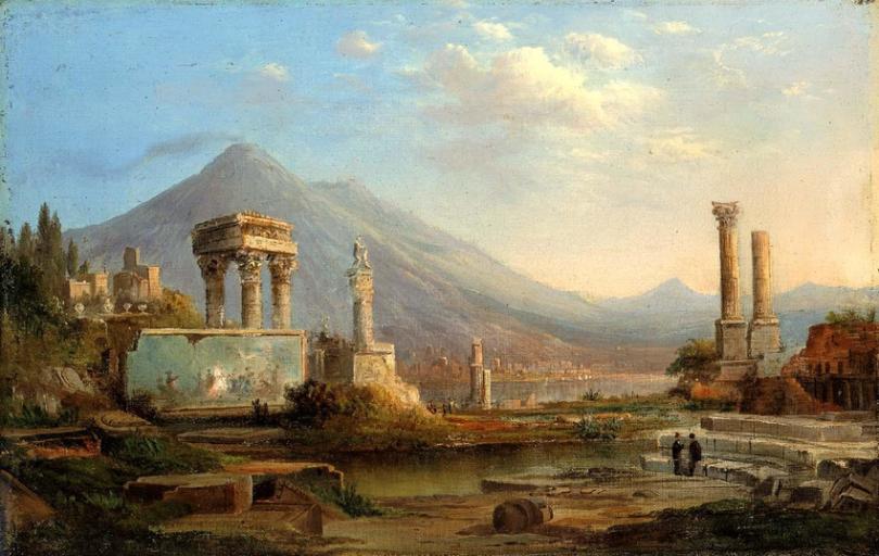 """Pintura romantica """"El Vesubio y Pompeya """" (1870) de Robert S. Duncanson"""